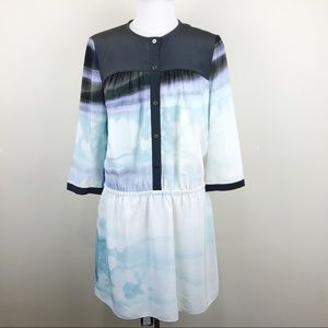 Diane Von Furstenberg Watercolor Silk Button Dress